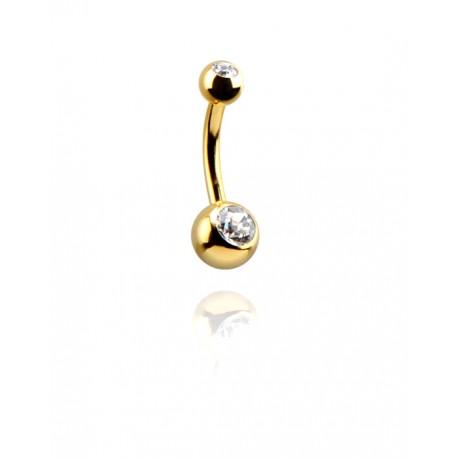 Auksu dengtas auskaras į bambą su dviem kristalais