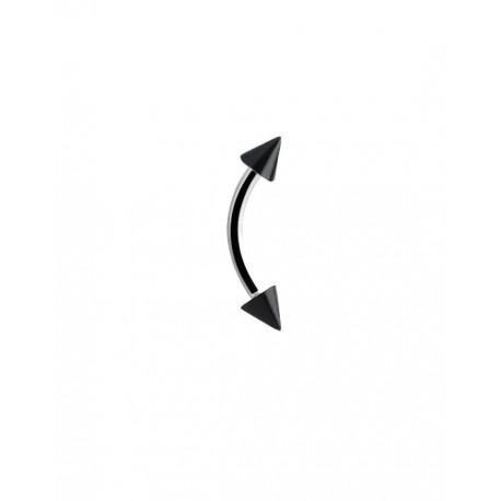 Lenktas auskaras iš titano su juodais kūgiais