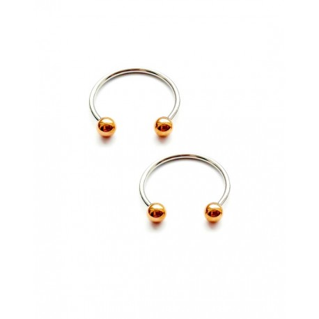 Pasagos formos auskaras 20 mm, rausvojo aukso spalvos rutuliukai