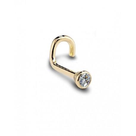 Lenktas auskaras į nosį su kristalu